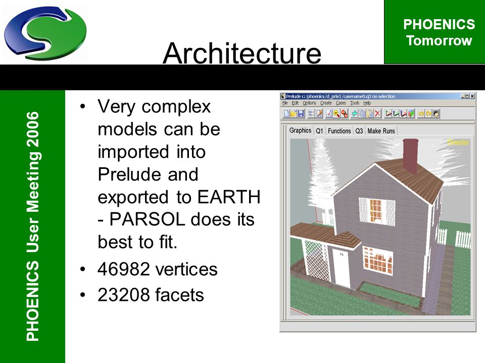 PHOENICS User Meeting 2006 PHOENICS Tomorrow Architecture Very complex models can be imported into Prelude and exported to EARTH - PARSOL does its best to fit.