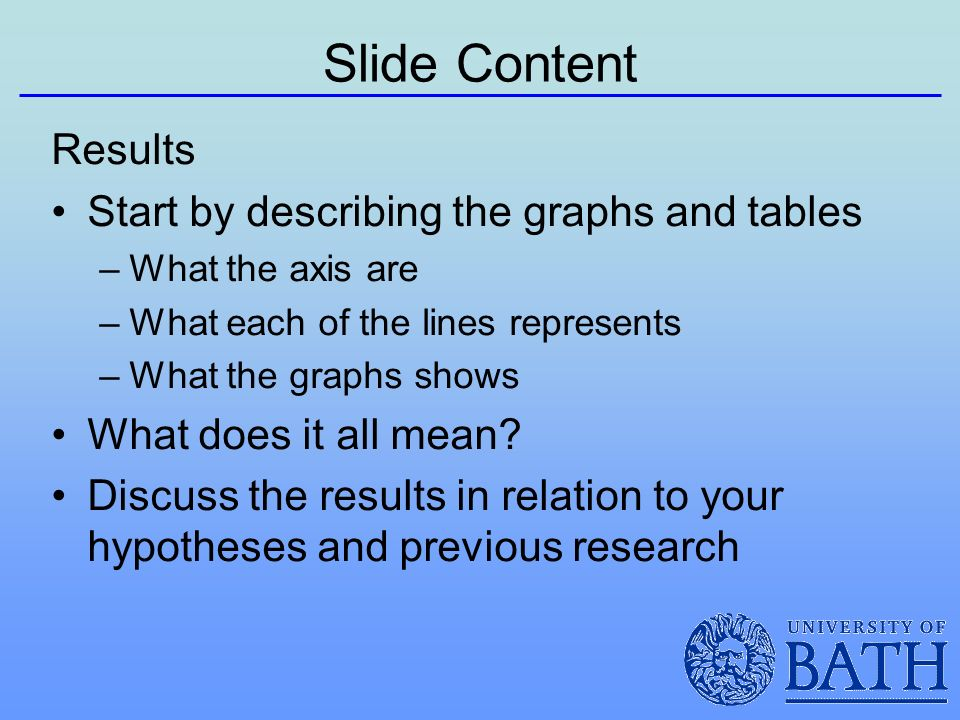 Slide Content Results Start by describing the graphs and tables –What the axis are –What each of the lines represents –What the graphs shows What does