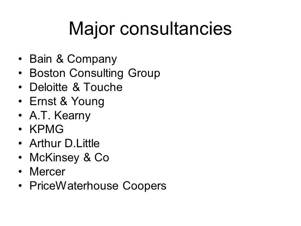 Major consultancies Bain & Company Boston Consulting Group Deloitte & Touche Ernst & Young A.T. Kearny KPMG Arthur D.Little McKinsey & Co Mercer Price