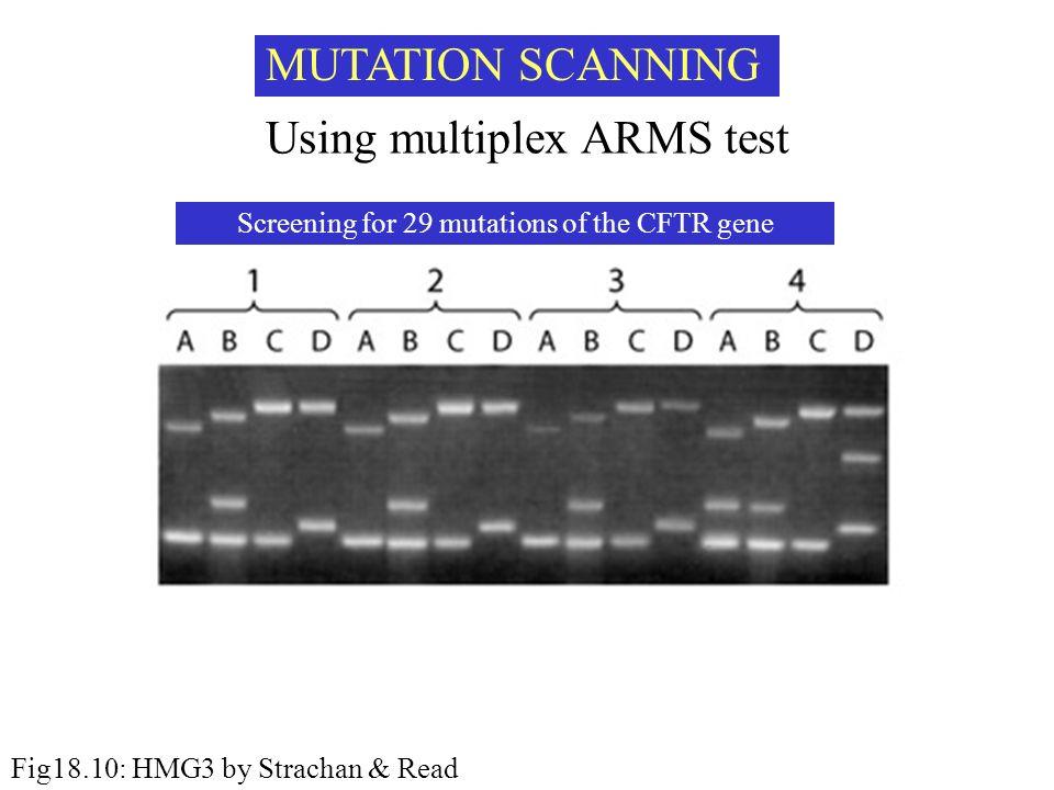 MUTATION SCANNING Using multiplex ARMS test Screening for 29 mutations of the CFTR gene Fig18.10: HMG3 by Strachan & Read