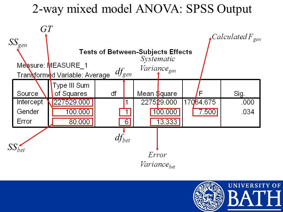 2-way mixed model ANOVA: SPSS Output Calculated F gen SS gen SS bet df gen df bet Error Variance bet GT Systematic Variance gen