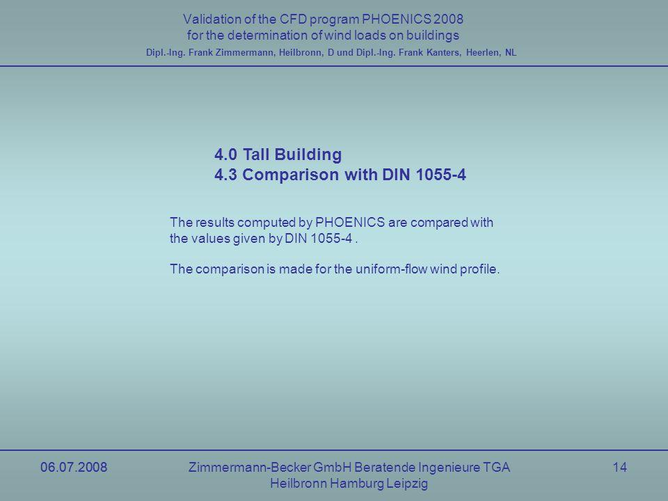 06.07.2008Zimmermann-Becker GmbH Beratende Ingenieure TGA Heilbronn Hamburg Leipzig 06.07.200814 Validation of the CFD program PHOENICS 2008 for the d