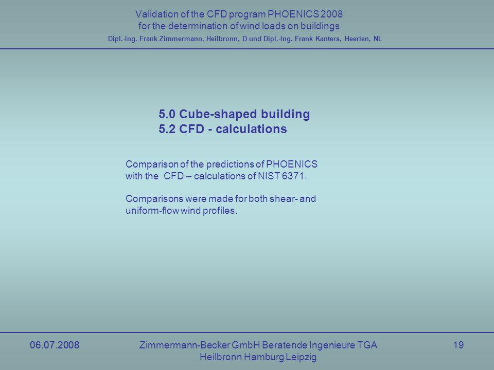 06.07.2008Zimmermann-Becker GmbH Beratende Ingenieure TGA Heilbronn Hamburg Leipzig 06.07.200819 Validation of the CFD program PHOENICS 2008 for the d