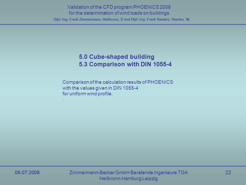 06.07.2008Zimmermann-Becker GmbH Beratende Ingenieure TGA Heilbronn Hamburg Leipzig 06.07.200822 Validation of the CFD program PHOENICS 2008 for the d