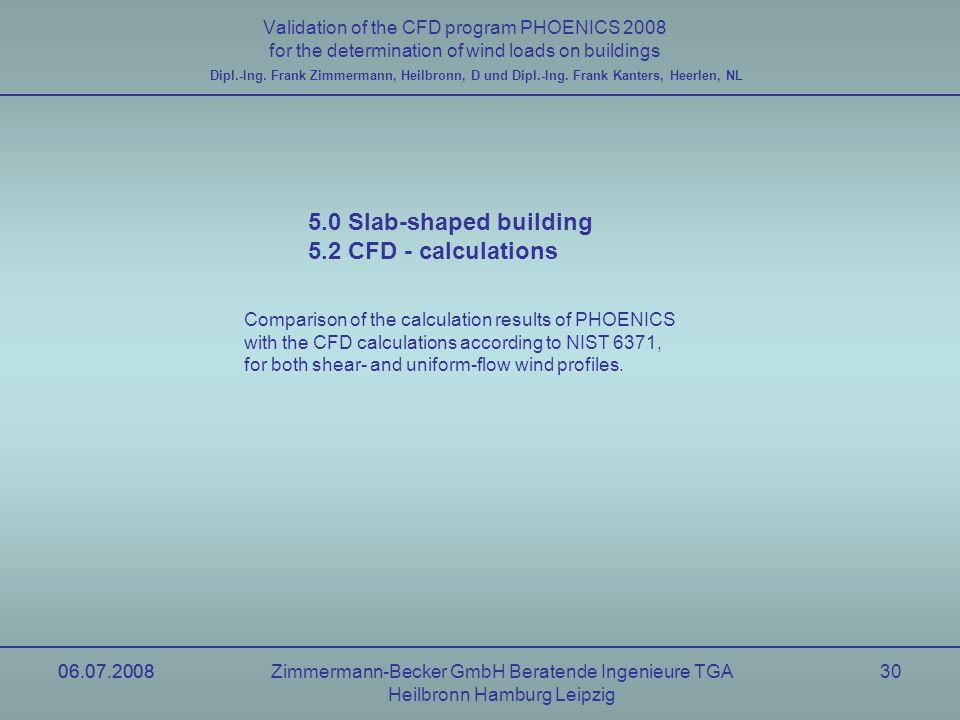 06.07.2008Zimmermann-Becker GmbH Beratende Ingenieure TGA Heilbronn Hamburg Leipzig 06.07.200830 Validation of the CFD program PHOENICS 2008 for the d