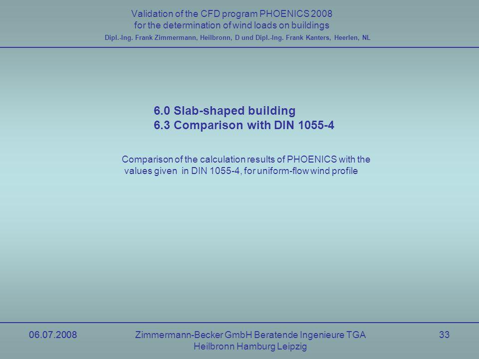 06.07.2008Zimmermann-Becker GmbH Beratende Ingenieure TGA Heilbronn Hamburg Leipzig 06.07.200833 Validation of the CFD program PHOENICS 2008 for the d