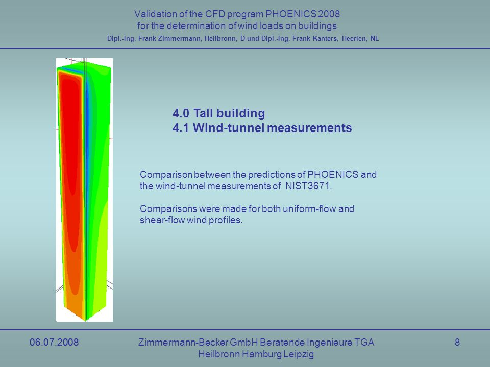06.07.2008Zimmermann-Becker GmbH Beratende Ingenieure TGA Heilbronn Hamburg Leipzig 06.07.20088 Validation of the CFD program PHOENICS 2008 for the determination of wind loads on buildings Dipl.-Ing.