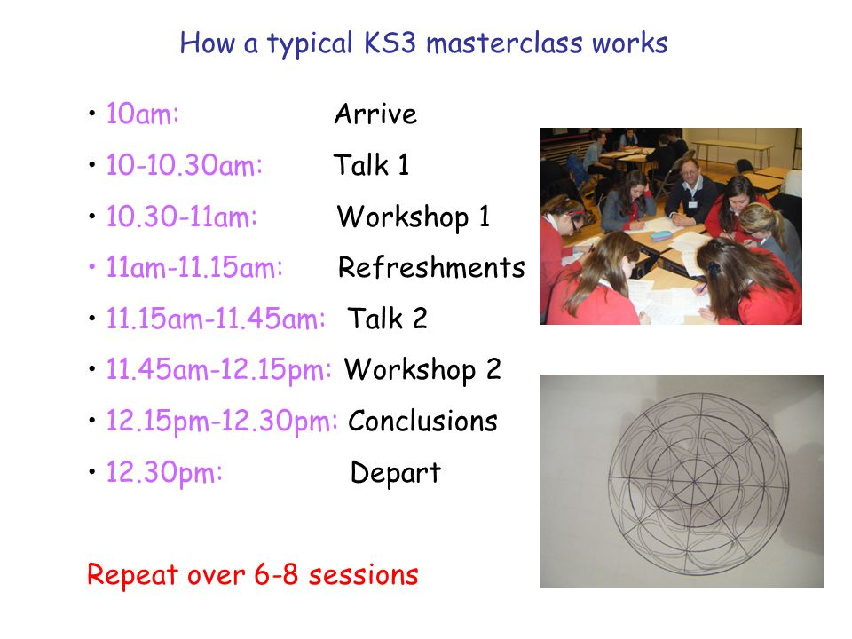 How a typical KS3 masterclass works 10am: Arrive 10-10.30am: Talk 1 10.30-11am: Workshop 1 11am-11.15am: Refreshments 11.15am-11.45am: Talk 2 11.45am-12.15pm: Workshop 2 12.15pm-12.30pm: Conclusions 12.30pm: Depart Repeat over 6-8 sessions