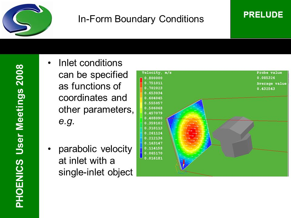 PHOENICS User Meetings 2008 PRELUDE In-Form Boundary Conditions Inlet conditions can be specified as functions of coordinates and other parameters, e.g.