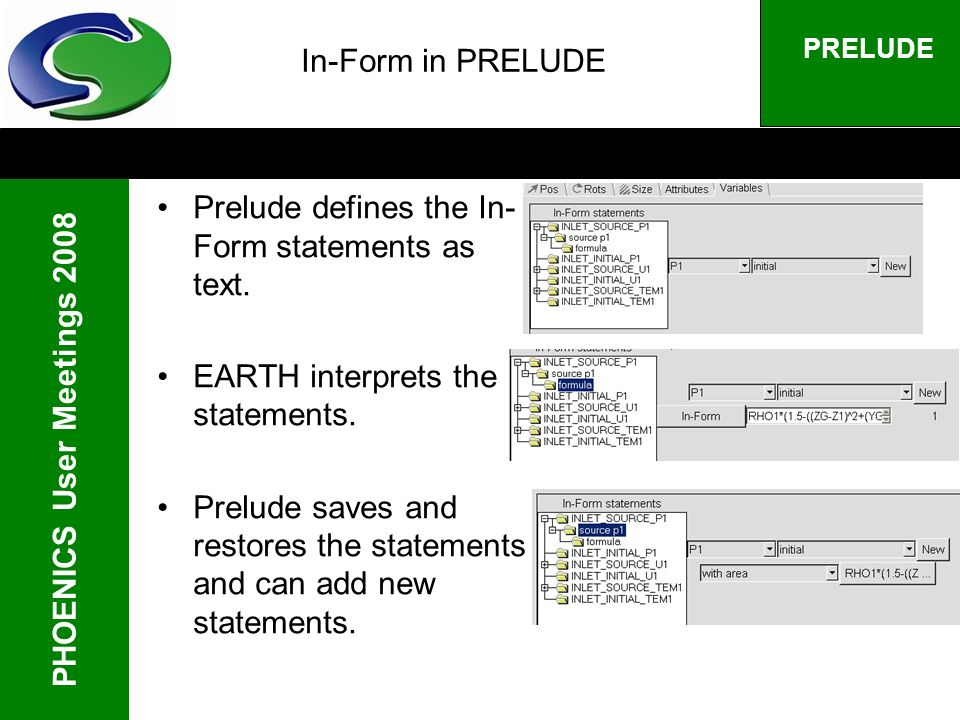 PHOENICS User Meetings 2008 PRELUDE In-Form in PRELUDE Prelude defines the In- Form statements as text.
