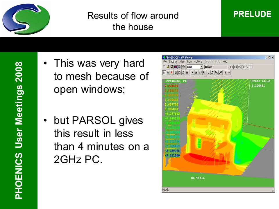 PHOENICS User Meetings 2008 PRELUDE Results of flow around the house This was very hard to mesh because of open windows; but PARSOL gives this result