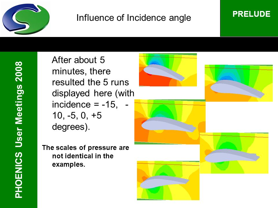 PHOENICS User Meetings 2008 PRELUDE Influence of Incidence angle After about 5 minutes, there resulted the 5 runs displayed here (with incidence = -15
