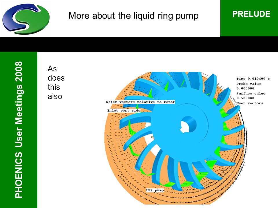 PHOENICS User Meetings 2008 PRELUDE More about the liquid ring pump As does this also