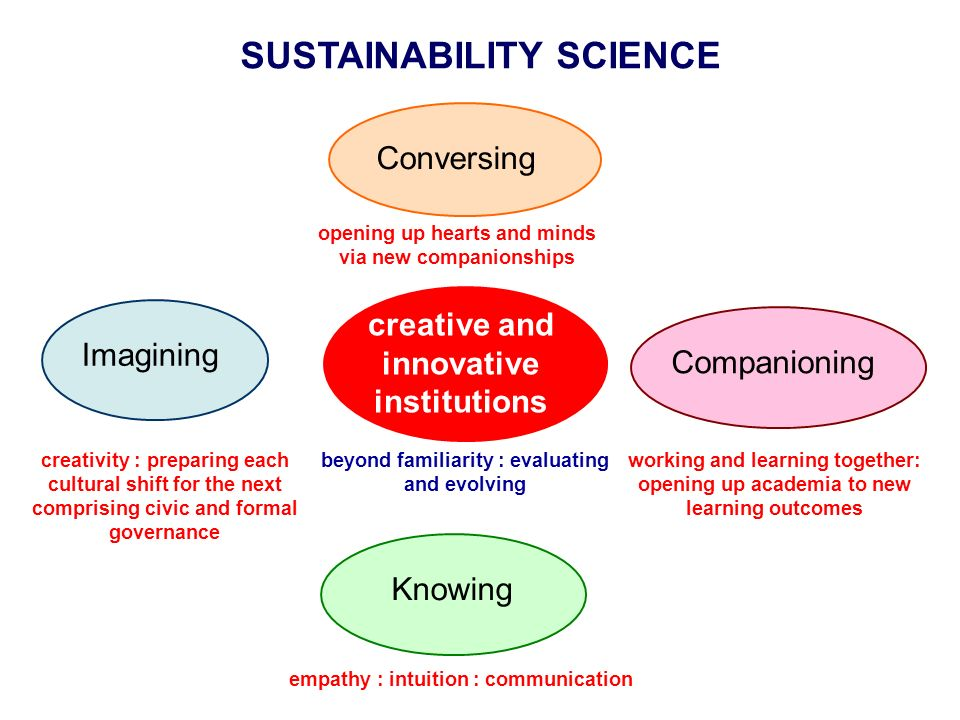 SUSTAINABILITY SCIENCE Conversing opening up hearts and minds via new companionships Companioning working and learning together: opening up academia to new learning outcomes creative and innovative institutions beyond familiarity : evaluating and evolving empathy : intuition : communication Knowing Imagining creativity : preparing each cultural shift for the next comprising civic and formal governance