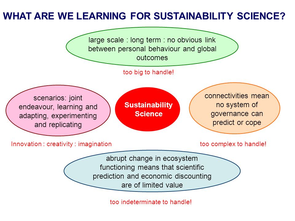 WHAT ARE WE LEARNING FOR SUSTAINABILITY SCIENCE.