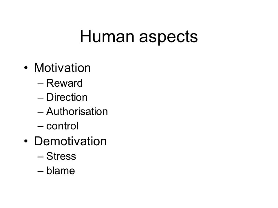 Human aspects Motivation –Reward –Direction –Authorisation –control Demotivation –Stress –blame