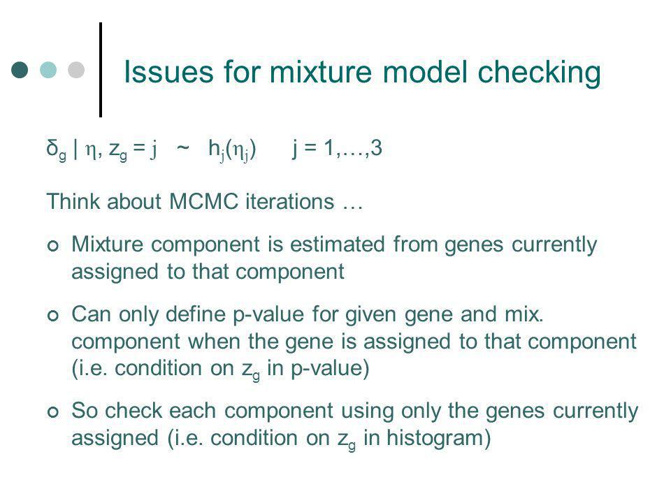 δ g | η, z g = j ~ h j ( η j ) j = 1,…,3 Think about MCMC iterations … Mixture component is estimated from genes currently assigned to that component Can only define p-value for given gene and mix.