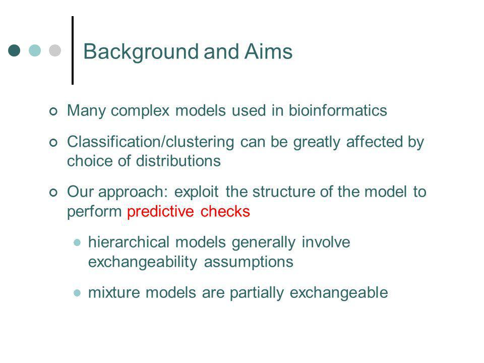 Many complex models used in bioinformatics Classification/clustering can be greatly affected by choice of distributions Our approach: exploit the structure of the model to perform predictive checks hierarchical models generally involve exchangeability assumptions mixture models are partially exchangeable Background and Aims