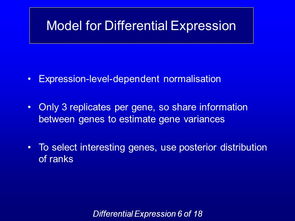 Model for Differential Expression Expression-level-dependent normalisation Only 3 replicates per gene, so share information between genes to estimate gene variances To select interesting genes, use posterior distribution of ranks Differential Expression 6 of 18