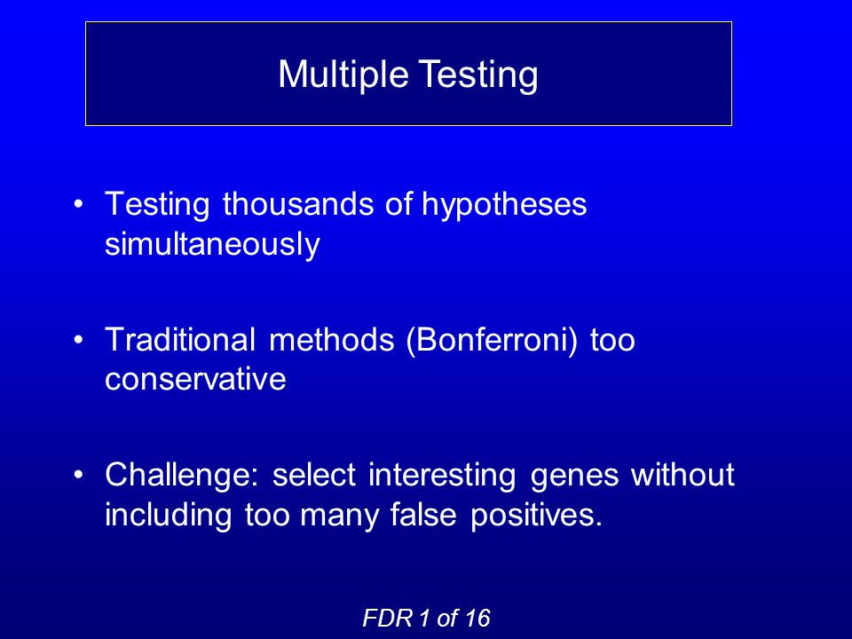 Testing thousands of hypotheses simultaneously Traditional methods (Bonferroni) too conservative Challenge: select interesting genes without including too many false positives.
