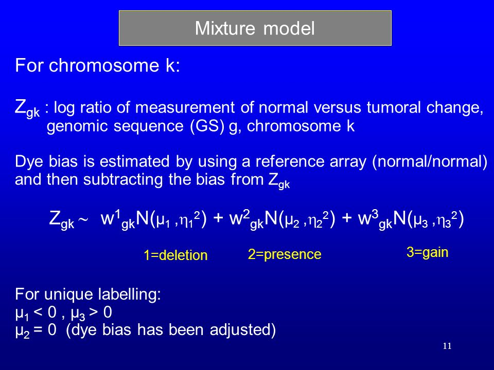 11 Mixture model For chromosome k: Z gk : log ratio of measurement of normal versus tumoral change, genomic sequence (GS) g, chromosome k Dye bias is estimated by using a reference array (normal/normal) and then subtracting the bias from Z gk Z gk w 1 gk N( μ 1, 1 2 ) + w 2 gk N( μ 2, 2 2 ) + w 3 gk N( μ 3, 3 2 ) For unique labelling: μ 1 0 μ 2 = 0 (dye bias has been adjusted) 2=presence 1=deletion 3=gain