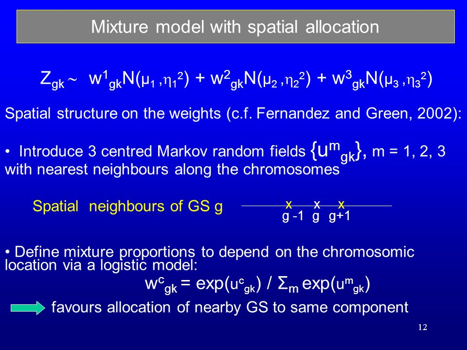 12 Define mixture proportions to depend on the chromosomic location via a logistic model: w c gk = exp( u c gk ) / Σ m exp( u m gk ) favours allocation of nearby GS to same component Mixture model with spatial allocation Z gk w 1 gk N( μ 1, 1 2 ) + w 2 gk N( μ 2, 2 2 ) + w 3 gk N( μ 3, 3 2 ) Spatial structure on the weights (c.f.