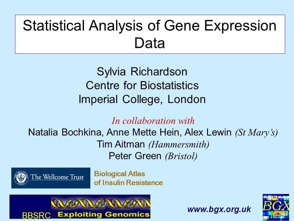 BGX 1 Sylvia Richardson Centre for Biostatistics Imperial College, London Statistical Analysis of Gene Expression Data In collaboration with Natalia B