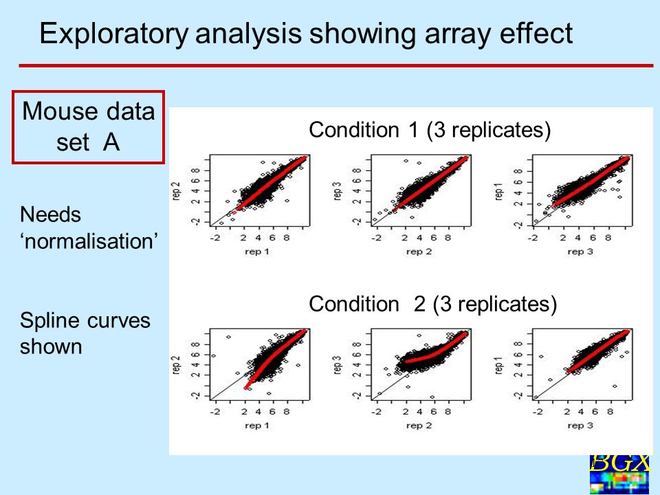 BGX 17 Condition 1 (3 replicates) Condition 2 (3 replicates) Needs normalisation Spline curves shown Exploratory analysis showing array effect Mouse d