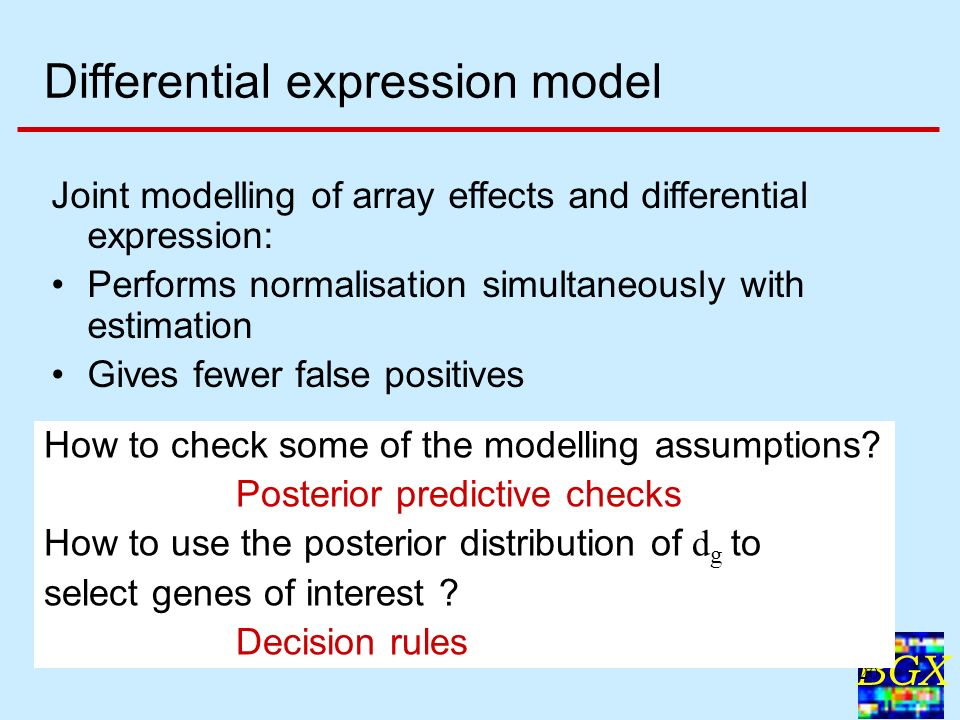 BGX 20 Differential expression model Joint modelling of array effects and differential expression: Performs normalisation simultaneously with estimation Gives fewer false positives How to check some of the modelling assumptions.
