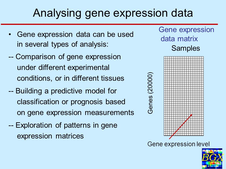 BGX 5 Gene expression data can be used in several types of analysis: -- Comparison of gene expression under different experimental conditions, or in different tissues -- Building a predictive model for classification or prognosis based on gene expression measurements -- Exploration of patterns in gene expression matrices Analysing gene expression data Samples Genes (20000) Gene expression level Gene expression data matrix