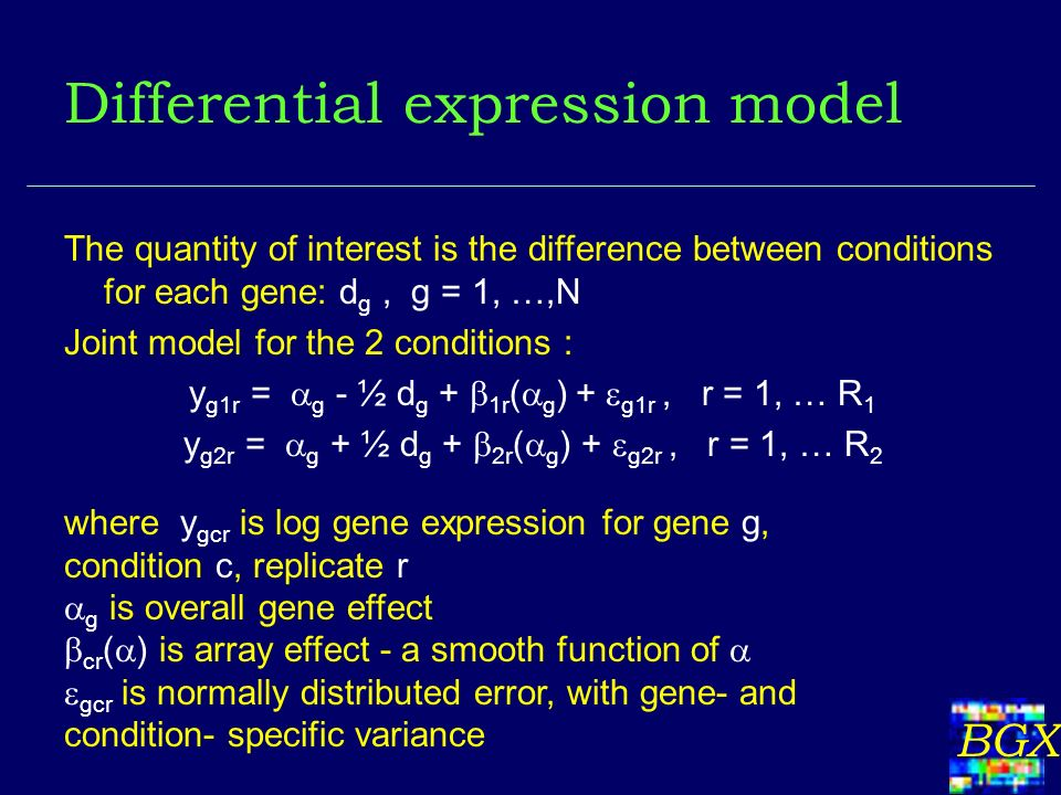 BGX Differential expression model The quantity of interest is the difference between conditions for each gene: d g, g = 1, …,N Joint model for the 2 c