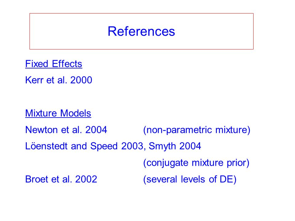 Fixed Effects Kerr et al. 2000 Mixture Models Newton et al. 2004(non-parametric mixture) Löenstedt and Speed 2003, Smyth 2004 (conjugate mixture prior