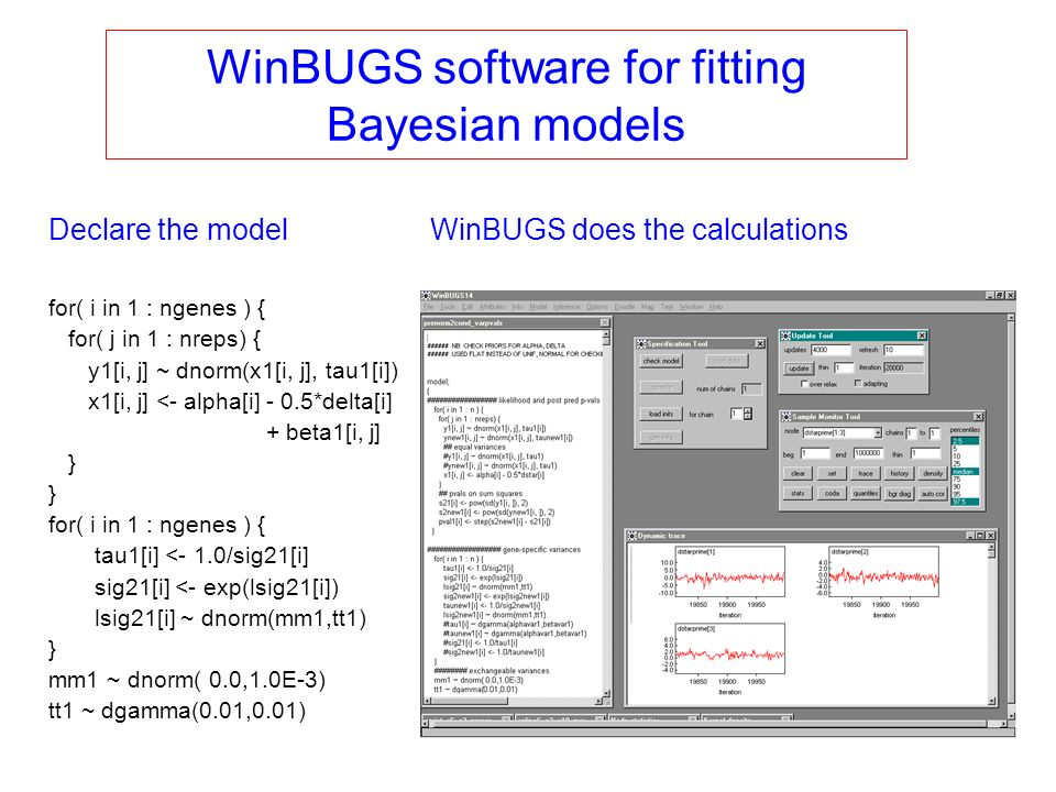 Declare the model WinBUGS software for fitting Bayesian models for( i in 1 : ngenes ) { for( j in 1 : nreps) { y1[i, j] ~ dnorm(x1[i, j], tau1[i]) x1[
