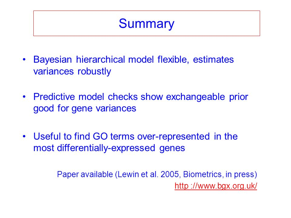 Summary Bayesian hierarchical model flexible, estimates variances robustly Predictive model checks show exchangeable prior good for gene variances Use
