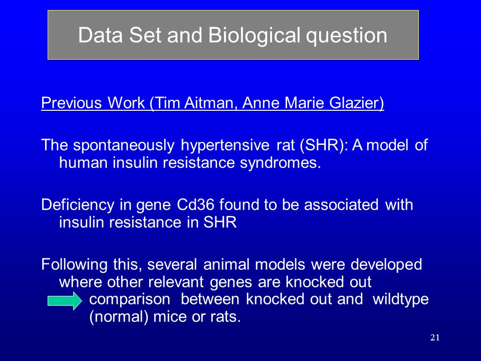 21 Data Set and Biological question Previous Work (Tim Aitman, Anne Marie Glazier) The spontaneously hypertensive rat (SHR): A model of human insulin resistance syndromes.