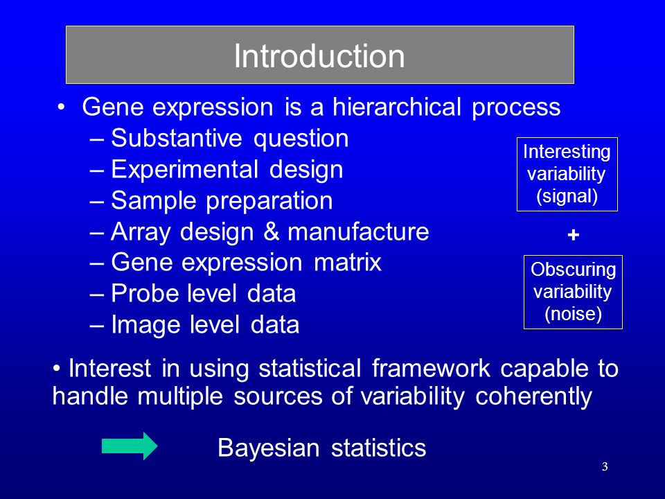 3 Introduction Gene expression is a hierarchical process –Substantive question –Experimental design –Sample preparation –Array design & manufacture –Gene expression matrix –Probe level data –Image level data Interest in using statistical framework capable to handle multiple sources of variability coherently Interesting variability (signal) Obscuring variability (noise) + Bayesian statistics
