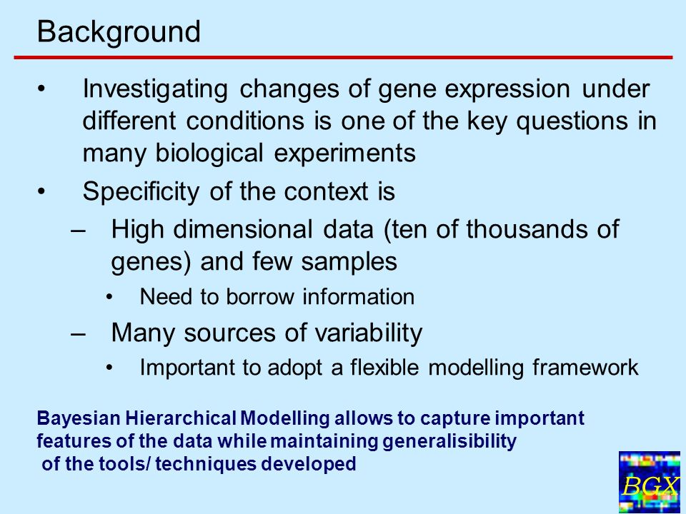 BGX 2 Background Investigating changes of gene expression under different conditions is one of the key questions in many biological experiments Specificity of the context is –High dimensional data (ten of thousands of genes) and few samples Need to borrow information –Many sources of variability Important to adopt a flexible modelling framework Bayesian Hierarchical Modelling allows to capture important features of the data while maintaining generalisibility of the tools/ techniques developed