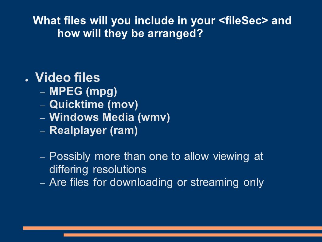 What files will you include in your and how will they be arranged.