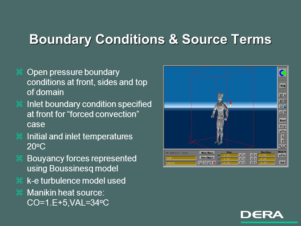 Boundary Conditions & Source Terms zOpen pressure boundary conditions at front, sides and top of domain zInlet boundary condition specified at front for forced convection case zInitial and inlet temperatures 20 o C zBouyancy forces represented using Boussinesq model zk-e turbulence model used zManikin heat source: CO=1.E+5,VAL=34 o C
