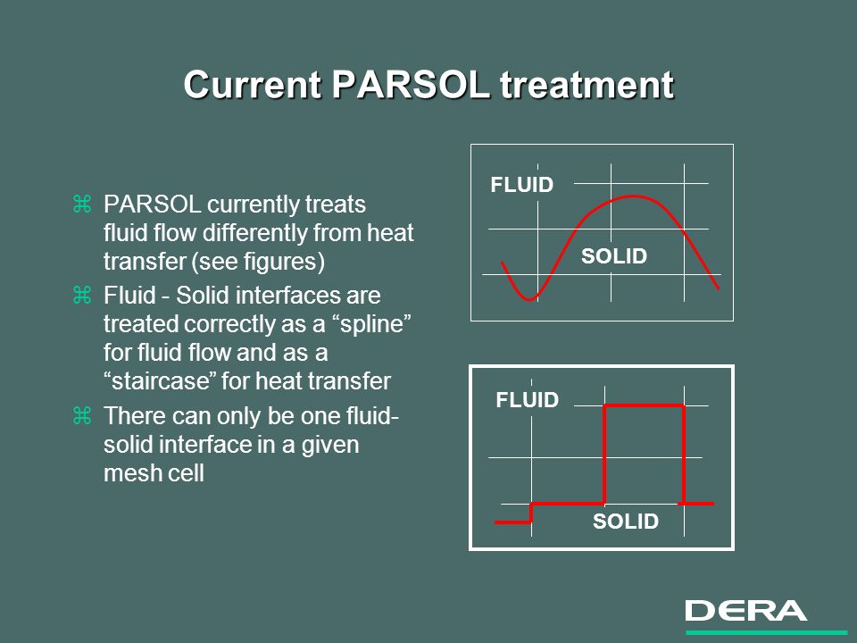Current PARSOL treatment zPARSOL currently treats fluid flow differently from heat transfer (see figures) zFluid - Solid interfaces are treated correctly as a spline for fluid flow and as a staircase for heat transfer zThere can only be one fluid- solid interface in a given mesh cell SOLID FLUID SOLID FLUID