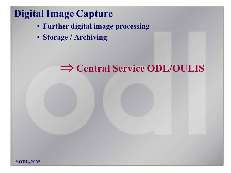 ©ODL, 2002 Digital Image Capture Further digital image processing Storage / Archiving Central Service ODL/OULIS