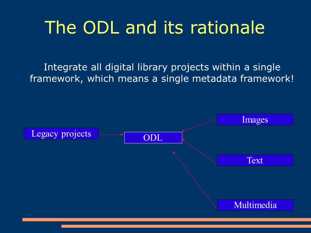 The ODL and its rationale Integrate all digital library projects within a single framework, which means a single metadata framework.