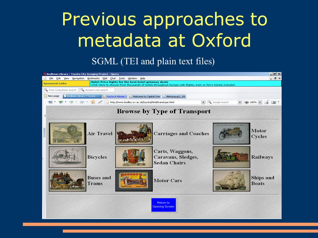 Previous approaches to metadata at Oxford SGML (TEI and plain text files)
