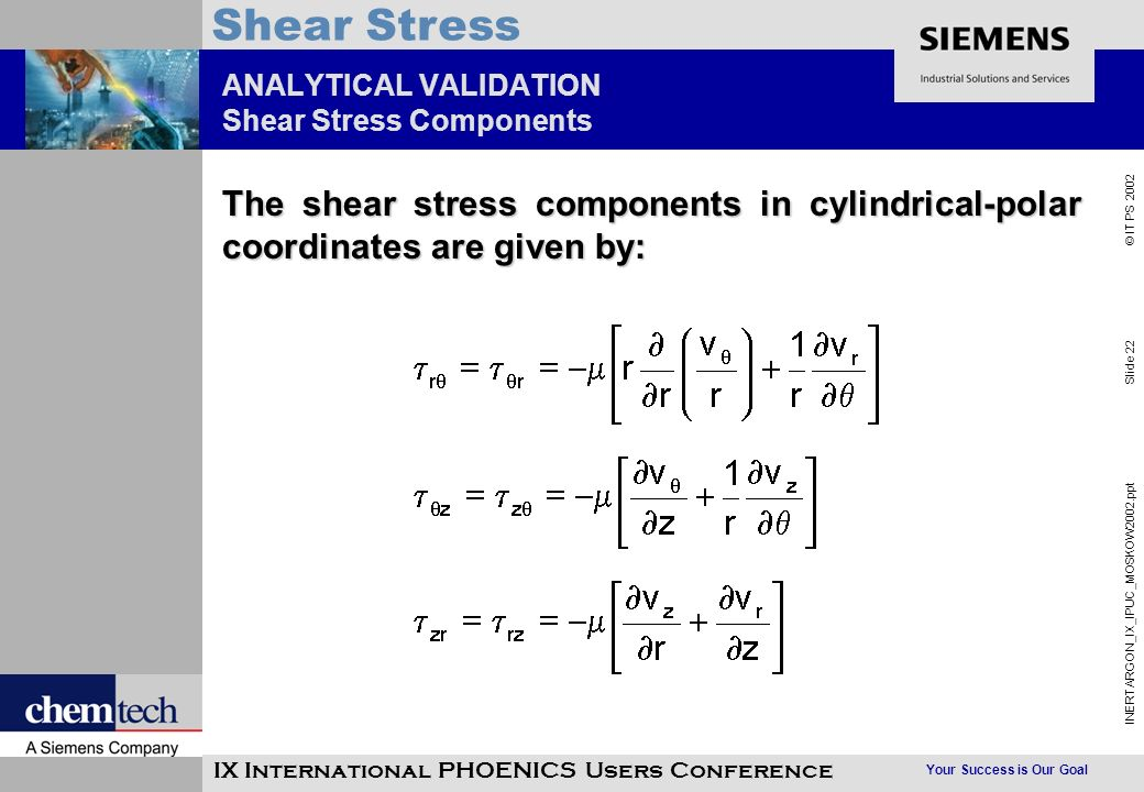 Your Success is Our Goal INERTARGON_IX_IPUC_MOSKOW2002.ppt Slide 22 © IT PS 2002 Shear Stress IX International PHOENICS Users Conference ANALYTICAL VALIDATION Shear Stress Components The shear stress components in cylindrical-polar coordinates are given by: