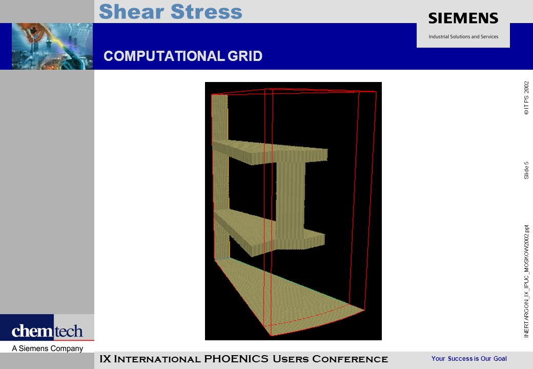 Your Success is Our Goal INERTARGON_IX_IPUC_MOSKOW2002.ppt Slide 5 © IT PS 2002 Shear Stress IX International PHOENICS Users Conference COMPUTATIONAL GRID