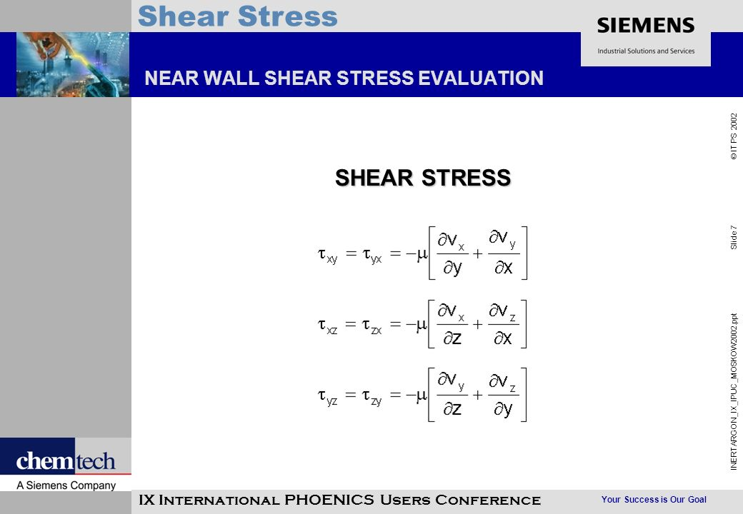 Your Success is Our Goal INERTARGON_IX_IPUC_MOSKOW2002.ppt Slide 7 © IT PS 2002 Shear Stress IX International PHOENICS Users Conference NEAR WALL SHEA