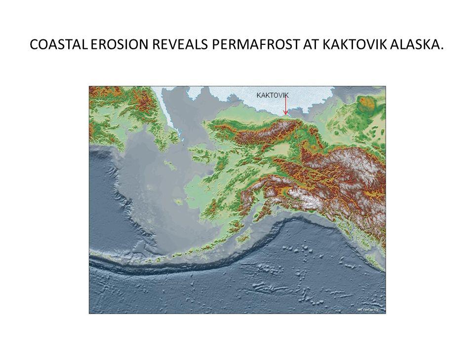 COASTAL EROSION REVEALS PERMAFROST AT KAKTOVIK ALASKA. KAKTOVIK