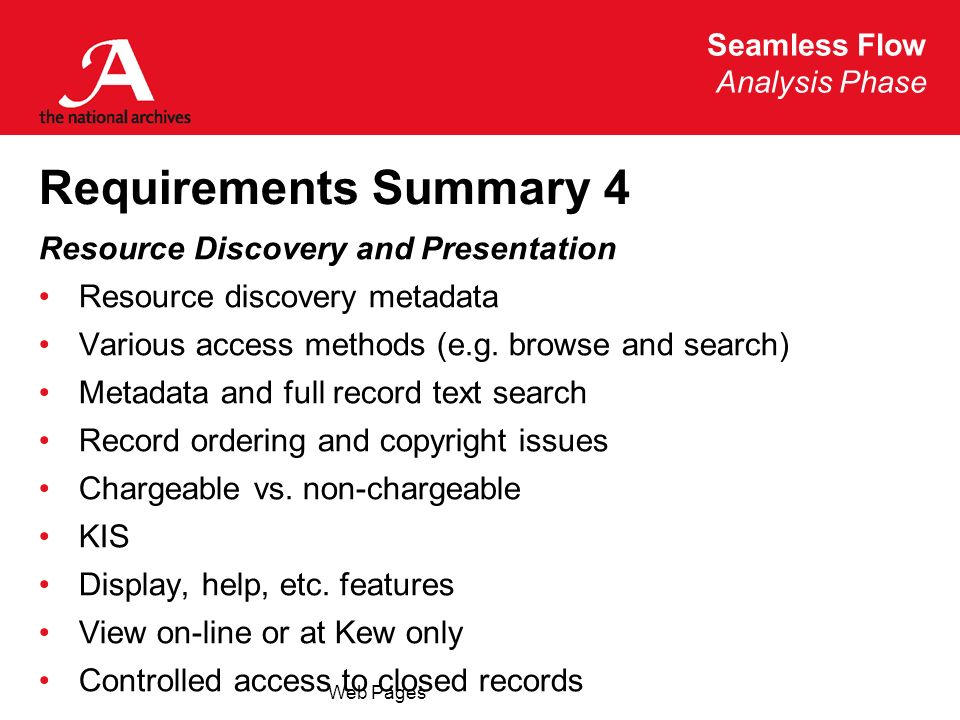Seamless Flow Analysis Phase Web Pages Requirements Summary 4 Resource Discovery and Presentation Resource discovery metadata Various access methods (e.g.