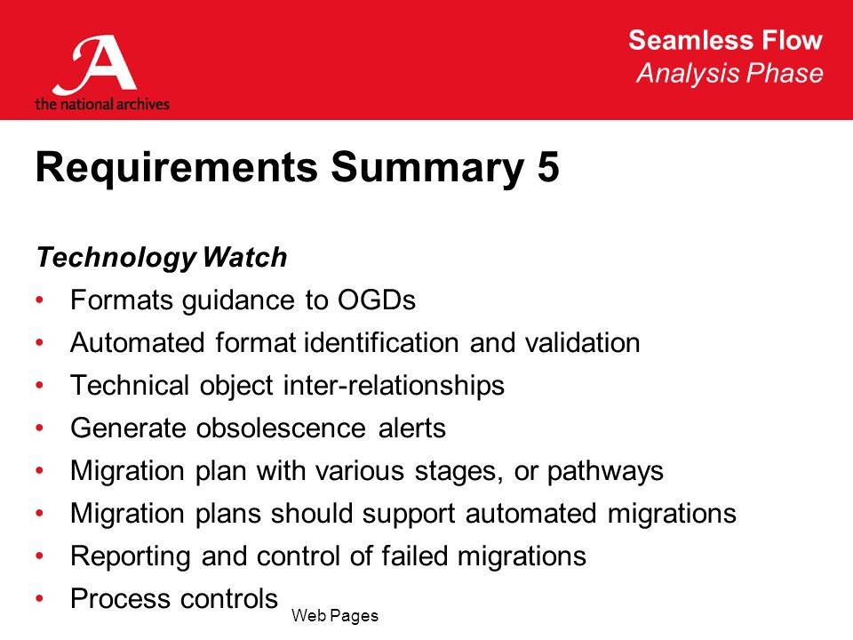 Seamless Flow Analysis Phase Web Pages Requirements Summary 5 Technology Watch Formats guidance to OGDs Automated format identification and validation