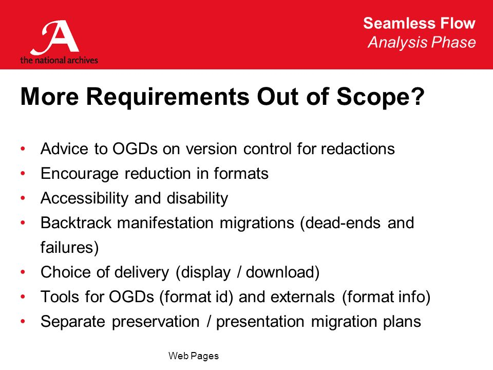 Seamless Flow Analysis Phase Web Pages More Requirements Out of Scope? Advice to OGDs on version control for redactions Encourage reduction in formats